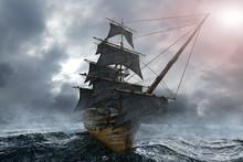 Pirate Ship Sailing On The Sea...