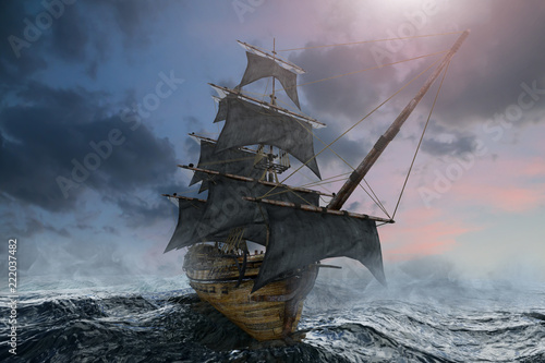 Fotobehang Schip pirate ship sailing on the sea, 3D render