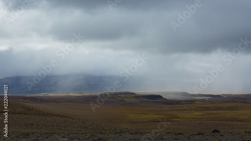 Kaldidalur valley, road 52 to Fanntófell, Iceland highlands, with rough volcanic landscape on a rainy day