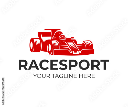 Race sport, formula 1 and race car, logo design. Racing automobile and drive, vector design and illustration