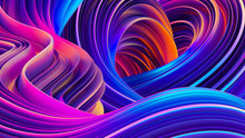 3D Rendering Abstract Background With Holographic Twisted Shapes In Motion