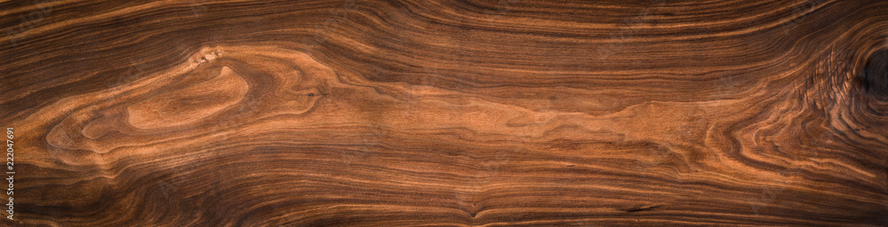 Fototapety, obrazy: Walnut wood texture. Super long walnut planks texture background.Texture element