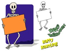 Spooky Skeleton Holding A Sign...
