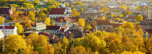 Fotobehang Zuid-Amerika land Beautiful autumn panorama of Vilnius old town taken from the Gediminas hill. Nice October day in Lithuania's capital.