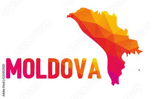 Low polygonal map of the Republic of Moldova (Republica Moldova) with sign Moldo Tablou Canvas
