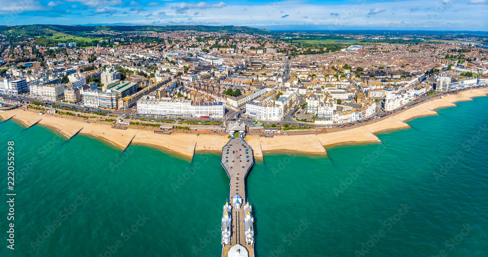 Fototapety, obrazy: Aerial view of Eastbourne in summer, UK