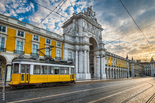 Photo sur Toile Europe Centrale Historic yellow tram in Lisbon, Portugal
