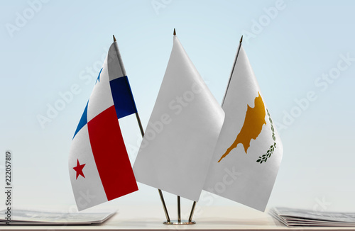 Flags of Panama and Cyprus with a white flag in the middle