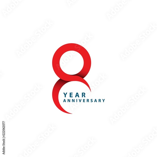 8 Year Anniversary Vector Template Design Illustration Wall mural