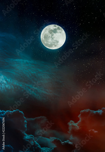 Foto op Plexiglas Bruin Landscape of night sky and bright full moon with many stars.