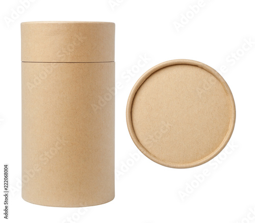 Photographie Top view of brown paper tube and brown paper tube isolated on white background