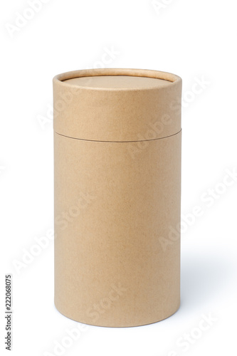 Fotografía Brown paper tube isolated on white background