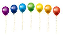 7色のレインボーカラーの風船が集まったイラスト|白背景 ベクターデータ