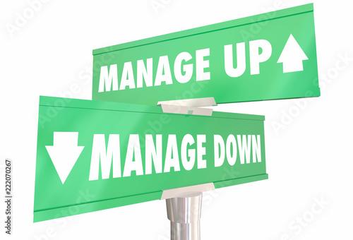 Manage Up Vs Down Executive Management Styles 2 Two Way Road Signs 3d Illustrati Slika na platnu