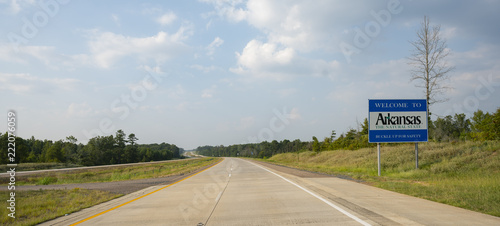 Photo Moving Along the Highway Crossing the Arkansas State Line