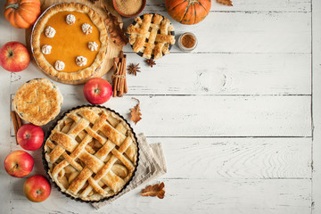 Fototapeta Thanksgiving pumpkin and apple various pies