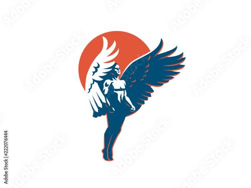 Canvastavla Angel man. Vector emblem.