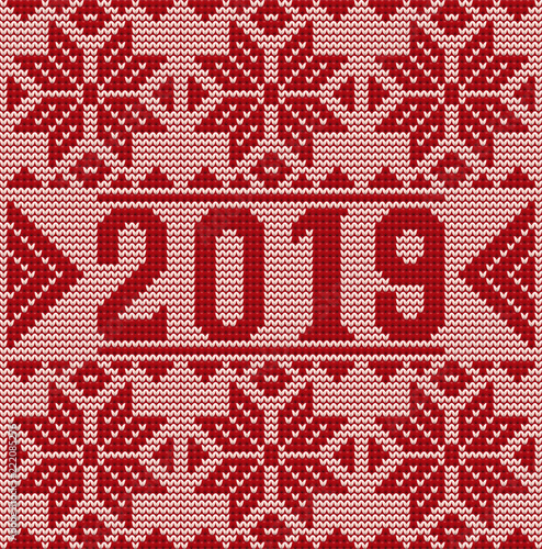 happy 2019 new year background knitted texture vector illustration