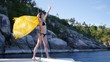 A slender girl stands on a yacht, behind her back a kerchief develops, enjoys life, raises her hands up. slow motion, HD, 1920x1080