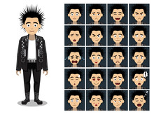 Punk Spike Head Man Cartoon Em...