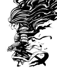 Samurai Woman With Long Hair