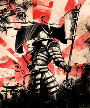 Japanese Samurai Soldier With ...