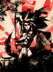 samurai woman on sunset bac...