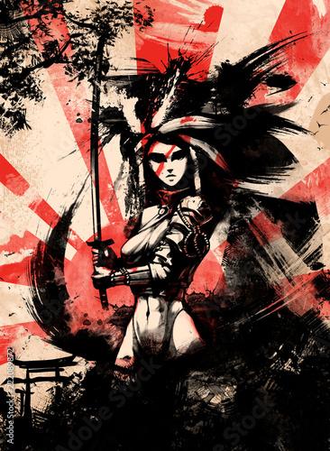 samurai woman on sunset bac...