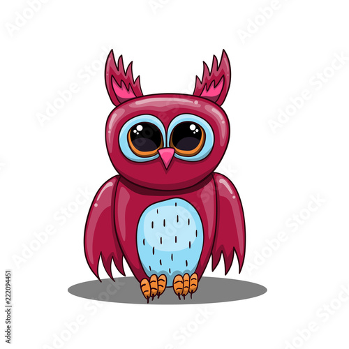 Tuinposter Uilen cartoon Cute vector fantastic owl in cartoon style.