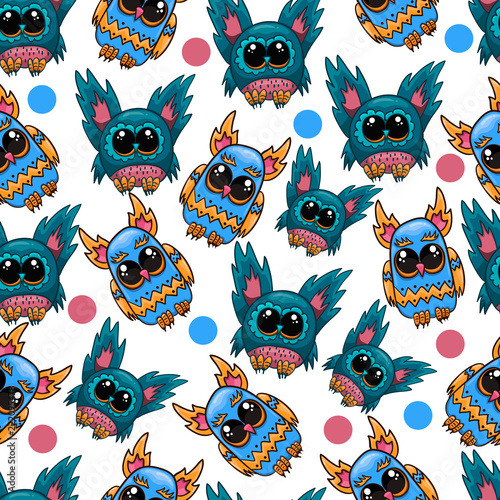 Canvas Prints Creatures Seamless pattern with fantastic cute vector owl