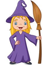 Cartoon Little Witch Holding B...