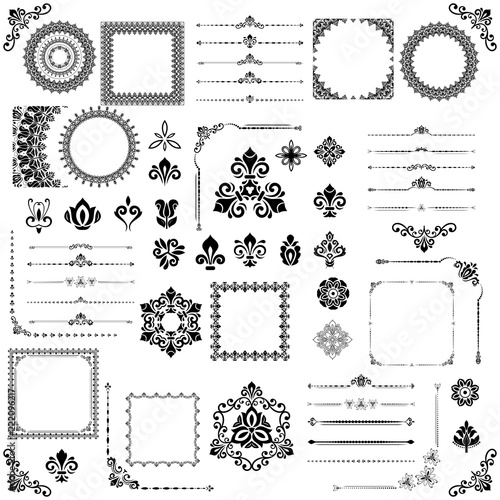 Vintage set of horizontal, square and round elements. Different elements for decoration design, frames, cards, menus, backgrounds and monograms. Set of classic vintage patterns