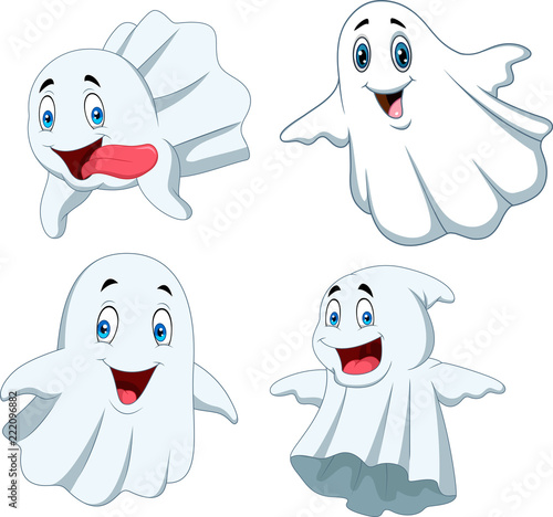 Cartoon funny ghost collection set Canvas Print