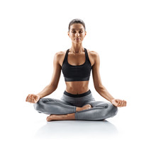 Sporty Young Woman Doing Yoga Practice Isolated On White Background. Concept Of Healthy Life And Natural Balance Between Body And Mental Development. Full Length