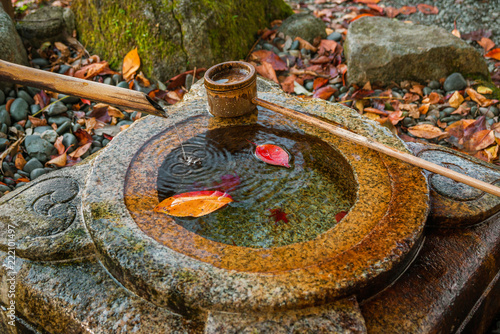 Fotografija  Old stone chozubachi for ritual ablution in Japan, with bamboo ladle and autumn