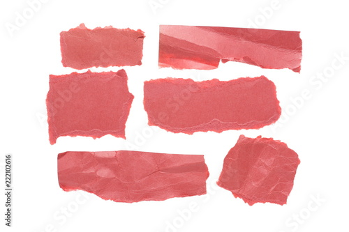Foto  Crumpled pink paper, set and collection isolated on white background, clipping p
