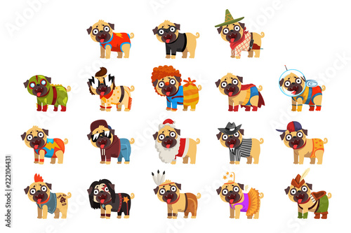Cute funny pug dog character in colorful funny costumes set, vector Illustration Slika na platnu