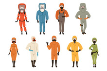 Protective Suits Set, Different Protective Uniform Equipment Vector Illustrations Isolated On A White Background
