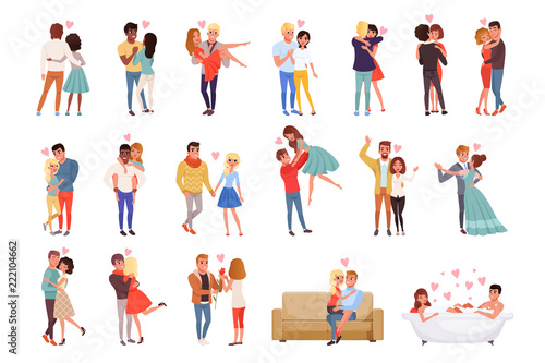 Young Men And Women Characters In Love Hugging Set Happy Romantic