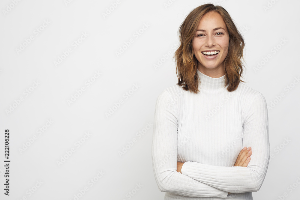 Fototapety, obrazy: portrait of young happy woman looks in camera