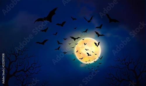 Fotomural Halloween background creepy forest with bats and full Moon