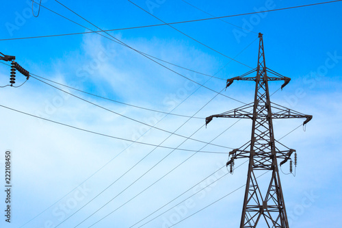 Fotografiet  silhouette electricity pylons and power lines
