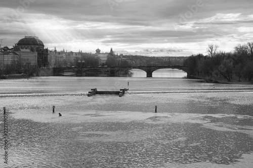 Fotografie, Obraz  Amazing view of Vltava river in Prague with glittering water