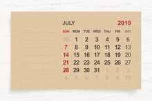 July 2019 - Monthly Calendar O...