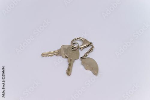 Obraz Dwa srebrne klucze do domu na białym tle - fototapety do salonu