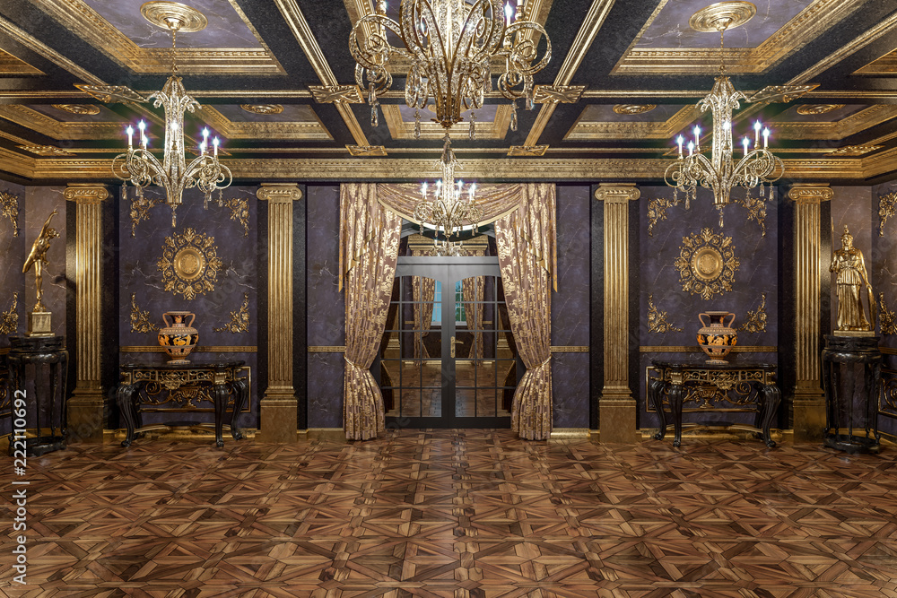 Fototapety, obrazy: 3d rendering of the hall in classical style Cinema 4D Corona renderer