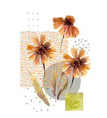 FototapetaWatercolor flowers and leaves, circle, square shapes, minimal doodle textures