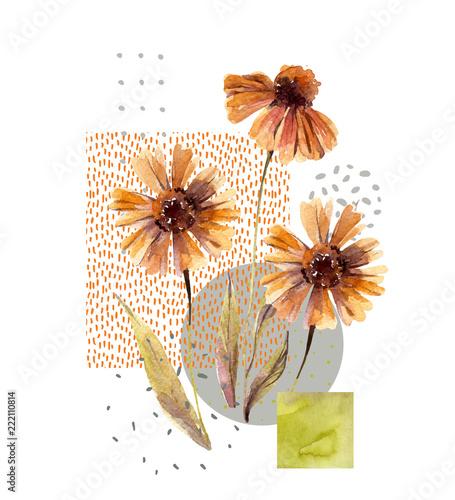 Photo sur Toile Empreintes Graphiques Watercolor flowers and leaves, circle, square shapes, minimal doodle textures