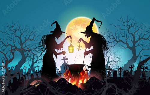 Fotografie, Obraz  Happy Halloween background with Old witch with magical potion and the dead trees under the moonlight