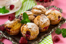 Sweet Raspberry Muffins For Tea And Dessert